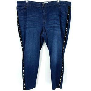 Eloquii Denim Skinny Jeans Velvet Rhinestones Plus